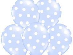 """Balon 14"""" błękitny w białe kropki, 1 szt"""