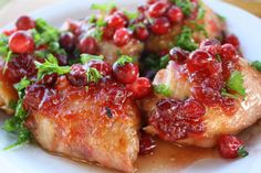cranberry chicken (made with cranberry sauce, onion soup mix)
