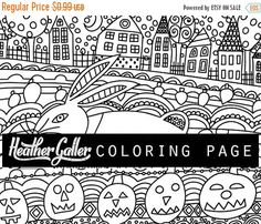 60% Off Today- Halloween coloring, Pumpkins coloring book, adult coloring book, coloring pages, adult coloring pages, coloring book for adul
