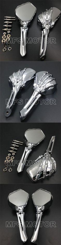 Motorcycle Part Cruiser CHROME Skull Skeleton Mirrors For Suzuki GSXR GSX-R 600 750 1000 Hayabusa
