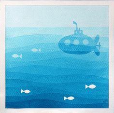 Submarine art  monochrome illustration blue original by VApinx, $57.00