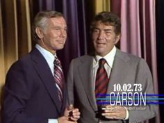 "Dean Martin surprises Johnny Carson on the anniversary of ""The Tonight Show Starring Johnny Carson"" in In one of the funniest moments on the Johnny Car. Here's Johnny, Johnny Carson, Dean Martin, Joey Bishop, Men Tv, Burt Reynolds, Funny Moments, Funniest Moments, Tonight Show"