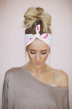 Dolly Bow Tie Up Headscarf Headband Bandana Hair Accessory Boho Head Wrap Tie Bandana Headband Pink Branch Birds Pattern (HB-92)