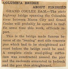 State history. Grand Coulee Dam. Construction. Bridges. 1935-01-16 Grand Coulee Dam, Dam Construction, Mason City, Columbia River, Bridges, History, Historia