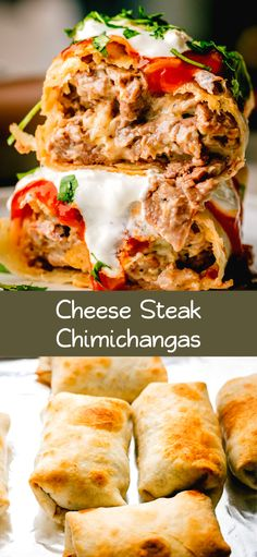 Super delicious Cheese Steak Chimichangas Recipe, warning this is not an authentic recipe. This is one of the ways I like to make Cheesy Beef Chimichangas for my family. Authentic Mexican Recipes, Mexican Food Recipes, Ethnic Recipes, Mexican Entrees, Beef Recipes, Chicken Recipes, Cooking Recipes, Cod Recipes, Sushi Recipes