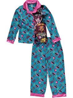 99caecf50b Monster High Girls 2 Piece Button Down Pajama Set Size M 7 8  MonsterHigh. Long  Sleeve ...