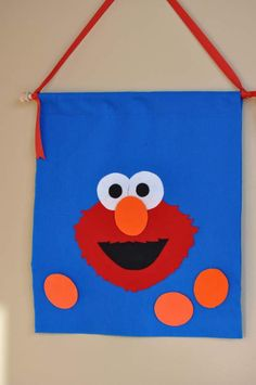 Game: Pin the nose on the Elmo, with felt and velcro!