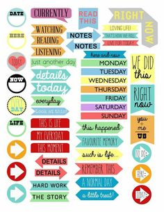 Scraps of Five.: Project Life: Printable Tabs - good for printing out to put in journal, scrapbook, or smashbook. Printable Tabs, Printable Stickers, Printable Planner, Free Printables, Free Stickers, Project Life Karten, Project Life Freebies, Project Life Cards, Planner Stickers
