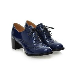 Lace Hollow Out Patent Leather Oxford Shoes