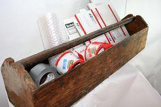 Large Wood Tool Box Tote by flattirevintage on Etsy, $42.00