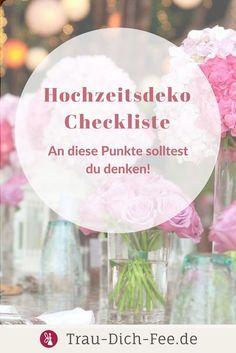 Auf unserem Hochzeitsblog findest du eine Checkliste rund um Hochzeitsdeko! - Hochzeitspapeterie - Auto-Dekoration - Deko in der Kirche und auf dem Standesamt - Deko der Hochzeitslocation - Frabschema und Stil.