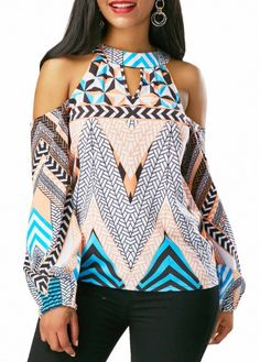 Multicolor Tribal Print Cold Shoulder Long Sleeve Blouse