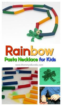 An easy St. Patricks Day kids activity to teach colors! Make a rainbow pasta necklace craft & practice fine-motor skills with toddlers and preschoolers at home!
