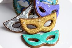 Mardi Gras Mask Cookies! Use any cookie recipe and any cake/cookie decor you can find and get creative! There is a link to where you can get this cookie-cutter, or you can make your own cardboard template and cut your own.