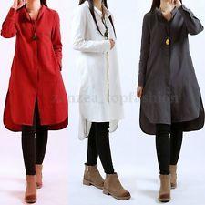 Zanzea Ladies Casual Cotton Linen Loose Hem Long Sleeve Shirt Dress Oversized