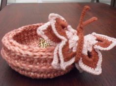 Crocheted  bowl 'PRETTY BUTTERFLY' organiser by Clematiscrafts, £5.75