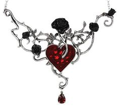 Only 2 Left. A BEAUTIFUL hand Sculpted Swarovski & English Pewter Blood Rose Choker Necklace. Rich with beautiful symbolism, the Bed of Blood Roses choker necklace portrays an image straight from the most beautiful of gothic tales, showing black roses nourished in the blood of a heart. The heart itself sparkles with the luster of Swarovski crystals from beneath the red enamel, & a red luster of another Swarovski crystal that dangles from the end of a thorny rose like a drop of blood.