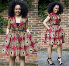 Nuju African short dress, knee length, african clothing, african dress, the… Latest African Fashion Dresses, African Dresses For Women, African Print Dresses, African Attire, African Wear, African Women, African Prints, African Style, Ankara Fashion