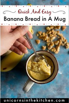 Make banana bread in a mug in just a few minutes using pantry staples. This banana bread for one is easy and made using the microwave, perfect for a midday snack and loved by kids! You can add other ingredients such as chocolate chips, walnuts and coconut flakes for more flavor! #bananabread #mugcake #easybananabread #forone #bakingforone Make Banana Bread, Banana Bread Recipes, Delicious Breakfast Recipes, Delicious Desserts, Chocolate Chips, Chocolate Recipes, Easy Desserts, Dessert Recipes, Best Sweets