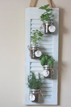 Recycled Shutter Beach Herb Garden by ElizabethKateDecor on Etsy, $85.00
