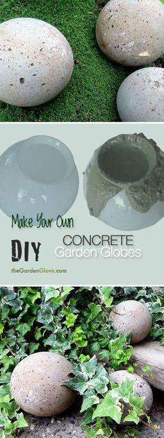 DIY Concrete Garden spheres - Make your own concrete garden spheres using old glass light shades!