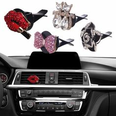 Decorate your dash with crystal air vent clip charms. Just clip them on any air vent to add a little sparkling personality to your auto interior. Cute and charming, these air vent clips will brighten Car Interior Accessories, Car Accessories For Girls, Bow Accessories, Minions, Car Interior Decor, Interior Design, Boat Interior, Interior Ideas, Interior Detailing