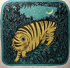 Sometime, even Tigers get lost  Chin colle lino print.  Stephanie Flier-I immediately thought of you when I saw this :)