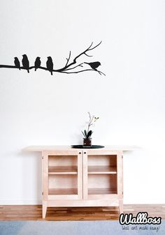 Wall Vinyl Sticker Wall Decal Birds On A Branch Wall Stickers Decor Home  Nature Tree