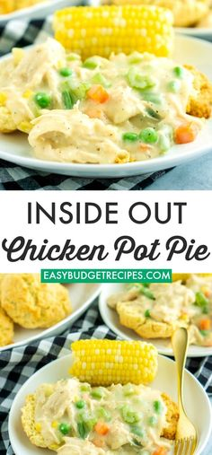 This Inside Out Chicken Pot Pie is served over easy buttermilk drop biscuits. Th… This Inside Out Chicken Pot Pie. Easy Pie Recipes, Easy Casserole Recipes, Healthy Chicken Recipes, Dinner Recipes, Budget Recipes, Meal Recipes, Budget Meals, Yummy Recipes, Dinner Ideas