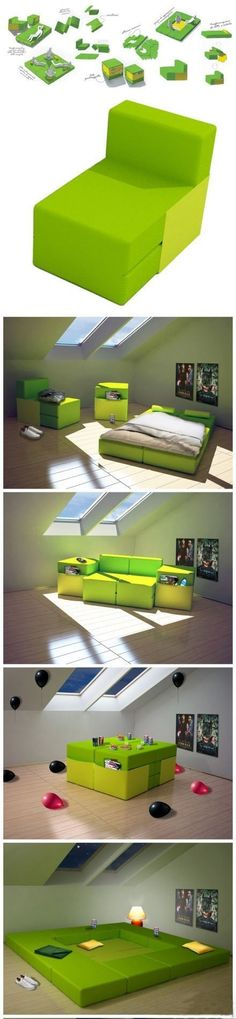Multiplo - HeyTeam - Modulo is a modular object that wants to help people's everyday life in little space. Style, functionality and above all its adaptability to fit in our small apartments. Versatile and modular furniture are best suited for our houses with limited space. Multiplo can be your bed, table, sitting room and much more in some easy moves. - http://www.heyteam.it/index.php?id=p_10