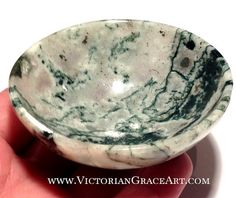 """$79 Moss TREE AGATE BOWL Life Changes Attunement Crystal Security energy Generator healing Reiki Earth Power Prosperity New Beginnings Wealth 3"""""""