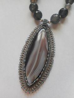 Botswana Agate Beaded Gemstone Pendant, Necklace, Earrings