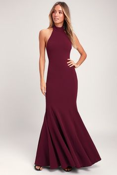 The Lulus Slice of Joy Burgundy Halter Maxi Dress is a dream come true! A high, halter neckline, made from medium-weight stretch woven fabric, tops this maxi. Burgundy Bridesmaid Dresses, Burgundy Dress, Bridesmaids, Backless Maxi Dresses, Sexy Dresses, Prom Dresses, Pretty Dresses, Beautiful Dresses, Event Dresses