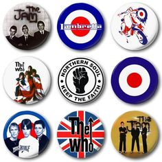 Collectable Badges Mod Collection - 12 X 1 Inch / Button Badge - Who Jam Weller Scooter Mod Music, Mod Scooter, Mod Girl, Swinging London, Northern Soul, Britpop, Thing 1, Button Badge, Ska