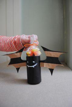 DIY Cardboard Tube Bat Treat Holders for Halloween by MerMag