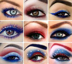 Gorgeous Patriotic Eyes Holiday Makeup, Halloween Makeup, Halloween 2017, Halloween Costumes, Makeup