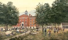Day's End - July 1st Print by Dale Gallon. Gettysburg, PA, July 1, 1863 - The wounded being treated on the east side of the Seminary.