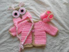 3pc Pink Owl Sweater set....Beautiful  03m by DesignsbyKieshia, $23.00