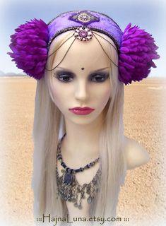 Ultraviolet Festival Headdress by HajnaLuna #tribalfusion #festivalheaddress