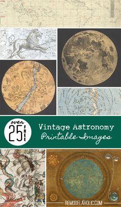 25 Free Vintage Astronomy Printable Images | Remodelaholic.com #art #homedecor