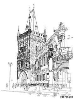 Vector: Prague - Powder Tower & Municipal House. Vector architectural dr