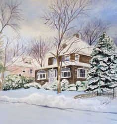 Braintree, Massachusetts Original Watercolor by Carol Mann. The 4th area on my LDS mission (1979).