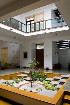 Indian home design - The Dange Residence (Shaanti) by Lavannya Goradia, via Behance Indian Home Design, Indian Home Interior, Kerala House Design, Indian Home Decor, Bungalow House Design, House Front Design, Modern House Design, Courtyard House Plans, Courtyard Design