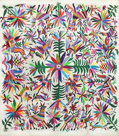 The Otomi people, indigenous inhabitants of central Mexico, are probably best known today for their colorful embroidery and textiles. Influenced by nature and ancient cliff paintings, the pieces incorporate vibrant images of animals, flora, fauna and native people. Their lively aesthetic is clean and modern.