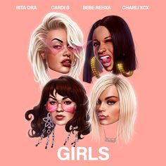 Rita Ora recruits Cardi B, Bebe Rexha and Charli XCX for 'Girls.' We haven't heard a whole lot from Rita Ora in the past few years but it seems as if she's r. Bebe Rexha, Charli Xcx, Cardi B, Rita Ora, Bouquet Toss Songs, Indie, Cool Album Covers, Music Covers, Hip Hop Albums