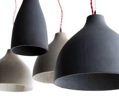 concrete pendant lamps by benjamin hubert