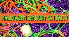 Halloween Sensory Bin with Spaghetti