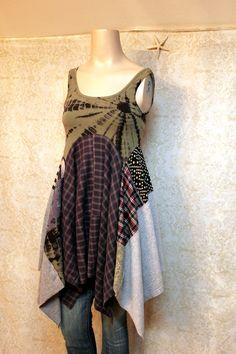 Boho Tie Dye Tank Top Shirt, Romantic Bohemian Artwear Junk Gypsy Style, Grunge Rocker Style