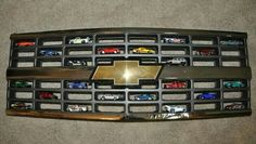 Cute match box car display for a boys room