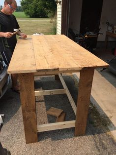 DIY kitchen island from barn wood